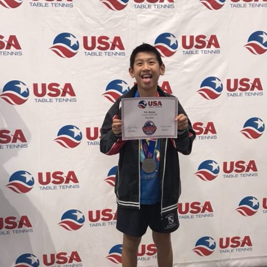 Nolan Yu USA table Tennis u1200 second place